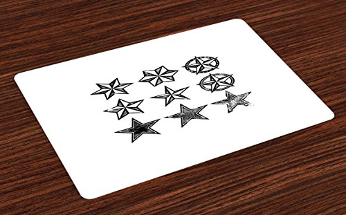 Cheap  Lunarable Texas Place Mats Set of 4, Grunge Looking Distressed Stars Collection..