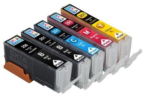 Skia Ink Cartridges ¨ 5 Pack Compatible with Canon 250 / 251(PGI-250BK CLI-251BK CLI-251C CLI-251M CLI-251Y) for PIXMA IP7220, PIXMA MG5420, PIXMA MG5422, PIXMA MG5520, PIXMA MG6320, PIXMA MG6420, PIXMA MG7120, PIXMA MX722, PIXMA MX922