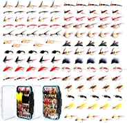 Maxcatch 120 pcs Fly Fishing Flies Kit Handmade Assortment Dry/Wet Flies, Nymphs, Streamers with Fly Box Inclu