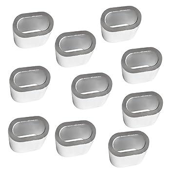 MagiDeal 10 Stück Aluminium Pressklemmen Presshülsen Seilklemmen ...