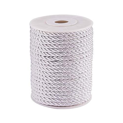 PH PandaHall 5mm/ 18 Yards Twisted Cord Rope Nylon Twisted Cord Trim Thread String, Silver