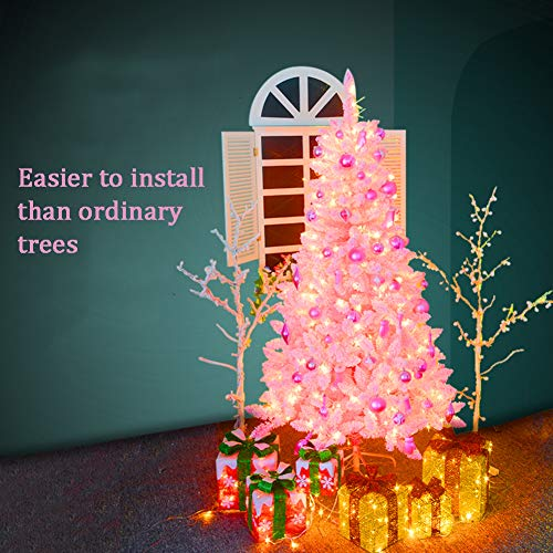 ZT&ZY Flocked Artificial Christmas Pine Tree, Easy Assembly Hinged Automatic Xmas Pine Tree Eco-Friendly Cherry Blossom Christmas Tree Solid Metal Legs -Pink 1.8m/5.9 ft