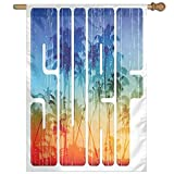 HUANGLING Summer Surf Retro Letters That Reflect The Seacoast With Palm Tree Extreme Sports Art Home Flag Garden Flag Demonstrations Flag Family Party Flag Match Flag 27''x37''