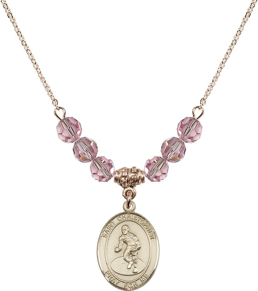 Gold Plated Necklace with 6mm Light Rose Birthstone Beads & Saint Christopher/Wrestling Charm.