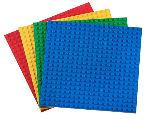"""Strictly Briks Classic Baseplates 6"""" x 6"""" Brik Tower 100% Compatible with All Major Brands   Building Bricks for Towers and More   4 Basic Colors Stackable Base Plates & 30 Stackers"""