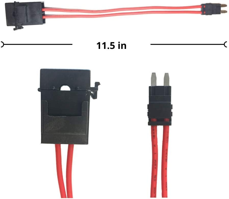 Hard To Reach Fusebox Panels Specialized ECU Repair Car Fuse Holder Connector Mini ATM Wiring Extension Tester for Automotive Circuits 20 Amp 32V 16 Gauge Red Wire Cable 26.5 Inch 5-Pack