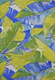 Island Breeze Blue and Green Leaves Indoor Outdoor Tablecloth (60x102 Inch Oblong) by Bardwill