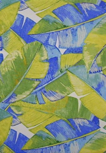 Island Breeze Blue and Green Leaves Indoor Outdoor Tablecloth (60x102 Inch Oblong) by Bardwill by Bardwill