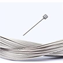BlueSunshine 10 Pcs 1.8m Length Bike Replaceable Cycling Shifter Cable Set OR Brake Cable Set and Silver Alloy Cable Cap End Tip Crimp Set, 10 Pack