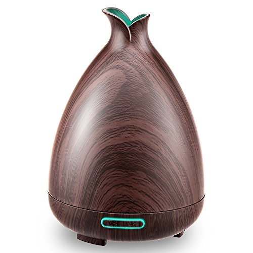 Essential Oil Diffuser Portable Aroma Ultrasonic Oil Diffuser Wood Grain Diffuser with Waterless Auto Shut-off Diffuser Adjustable Mist Mode and 7 Color Changing LED Lights