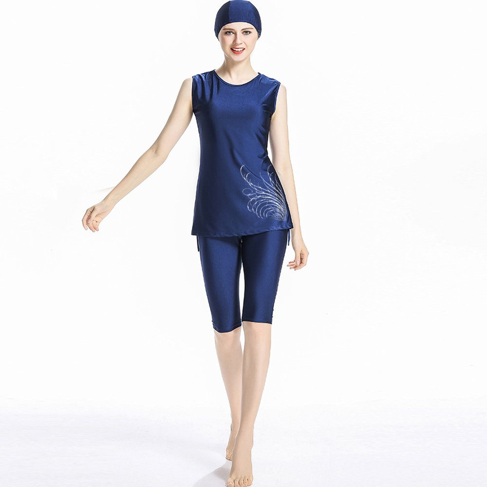 OUO Women Short Sleeve Muslim Islamic Modesty Swimsuit Burkini Swimming Costu...