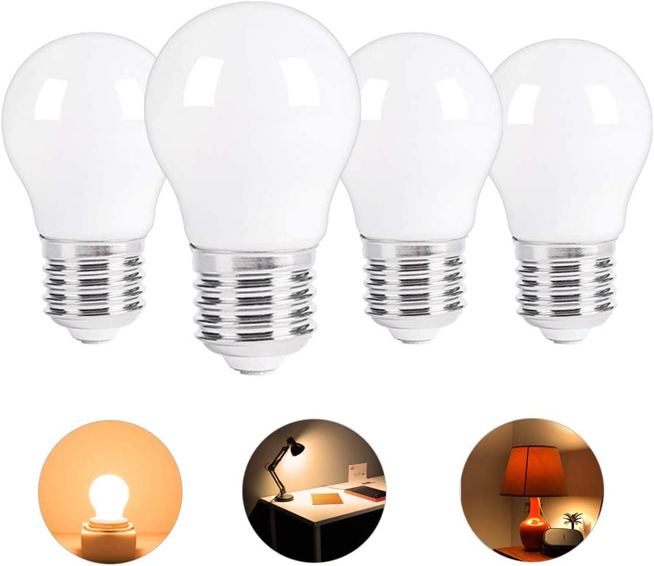 Low wattage A15 LED Light Bulb Replacement 15W-25W E26 Base 120V 2W 150lm Soft White 2700K Non-Dimmable for Bathroom, Bedroom, Bedside Accent Lamps Pack of 4