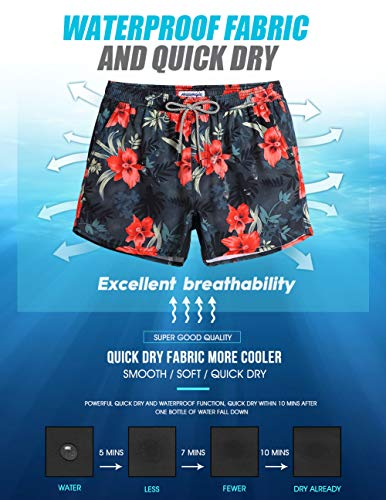 85df5237b0d73 MaaMgic Mens Floral Swim Trunks 4 Way Stretch Boardshorts Quick Dry Swimwear  with Mesh Lining/