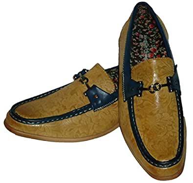 6676 Mens Scotch & Navy Floral Stamped Dressy Loafers