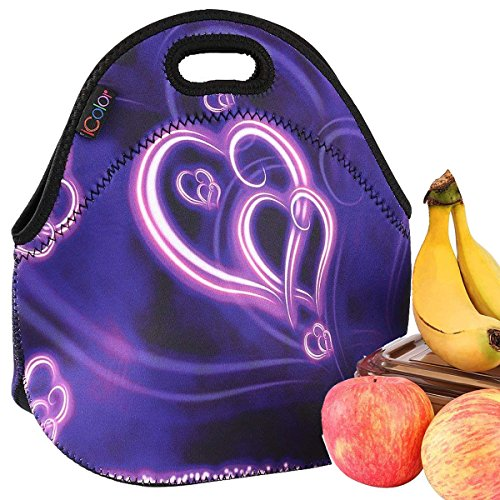 iColor Fashional Purple Hearts Boys Girls Insulated Waterproof Carrying Lunch Tote Bag Cooler Box Neoprene lunchbox Container Soft Case baby Handbag School Travel Outdoor Thermal bag YLB-049