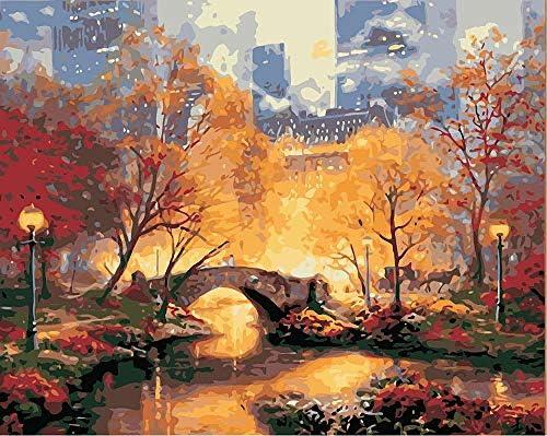 数字油絵 数字キット塗り絵 手塗り DIY絵 デジタル油絵 木と小川に架かる橋 40 x 50 cm (フレームレス)3ブラシホーム オフィス装飾