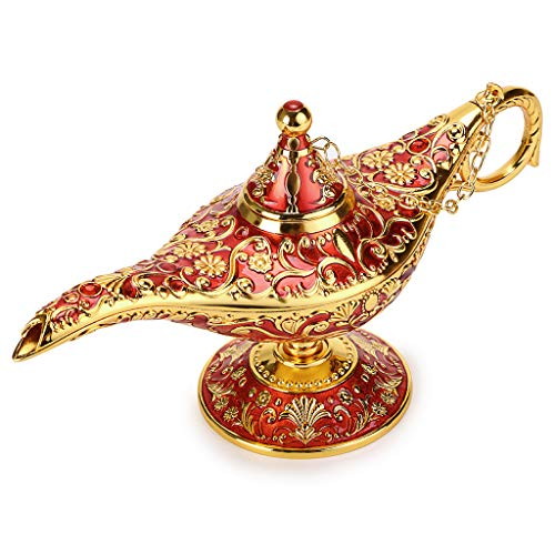 Hipiwe Vintage Magical Legend Aladdin's Genie Lamp for Home/Wedding Table Decoration,Collectable Rare Classic Arabian Costume Props Lamp Pot &Gift for Party/Halloween/Birthday(Red)]()