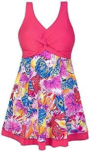 Wantdo Women's Plus Size Swimsuit Printing Padded High Waist Swimdress One Piece Swim