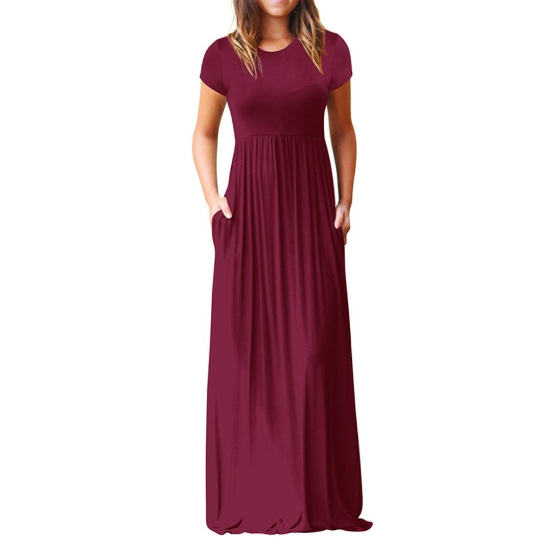 Hot Sale Summer Dress,Women O Neck Casual Pockets Short Sleeve Floor Length Dress Loose Party Dress (S, Wine Red)