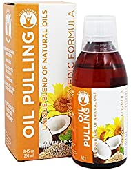 GuruNanda Oil Pulling Oil Oral Detox Oil Refreshing Ayurvedic Blend of Coconut, Sesame, Sunflower, & Peppermint Oils (8.45 fl. oz)
