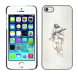 GOODTHINGS Funda Imagen Diseño Carcasa Tapa Trasera Negro Cover Skin Case para Apple Iphone 5 / 5S - ametralladora guerrero ciencia ficción muerte