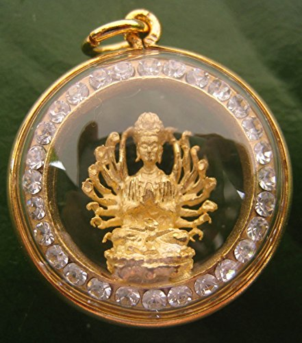 San Jewelry Pendant Necklace Buddhist Goddess Kuan Yin 1000 Hand (Quan Yin) Pendant Statue Thai Buddhist Monks Blessed for Fortune Good Luck Success & Good Protection 2x2 by San Jewelry