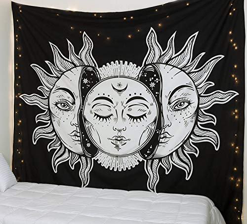 Popular Handicrafts Kp1140 Psychedelic Celestial Sun Moon Planet Bohemian Tapestry Wall Hanging Dorm Decor Boho Tapestries Hippie Hippy Purple tie dye Tapestry Beach Coverlet]()