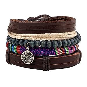 Diamondo Beads Bracelet Women Men Multilayer PU Leather Hemp Rope Wrap Cuff Bracelets