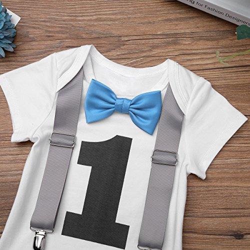 Freebily Infant Baby Boys First 1st Birthday Short Sleeves Suspenders Romper Jumpsuit Bow Tie Bodysuit