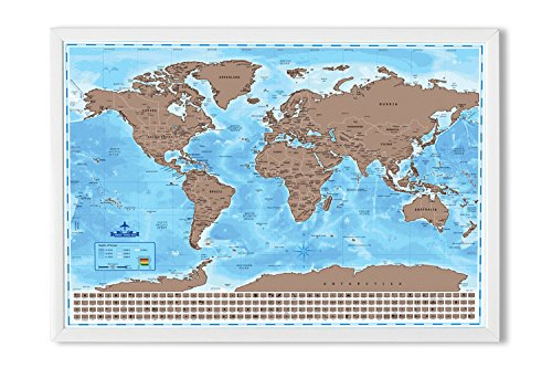 Maps Scratch Off World Map With Country Flags Us States Australian States And Canadian Provinces On Ocean