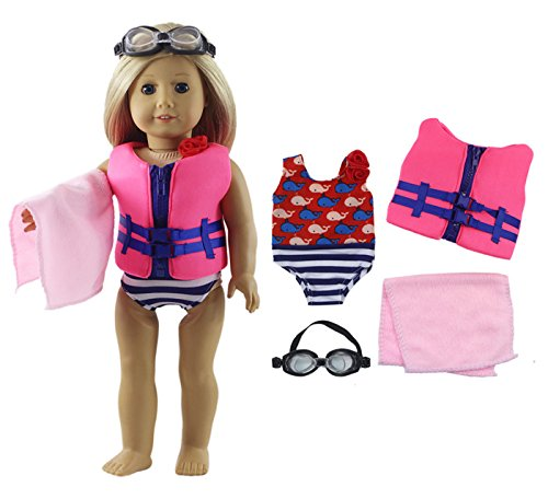 HongShun Fashion Doll Clothes 4 PCS Outfit Swimsuit+life jac