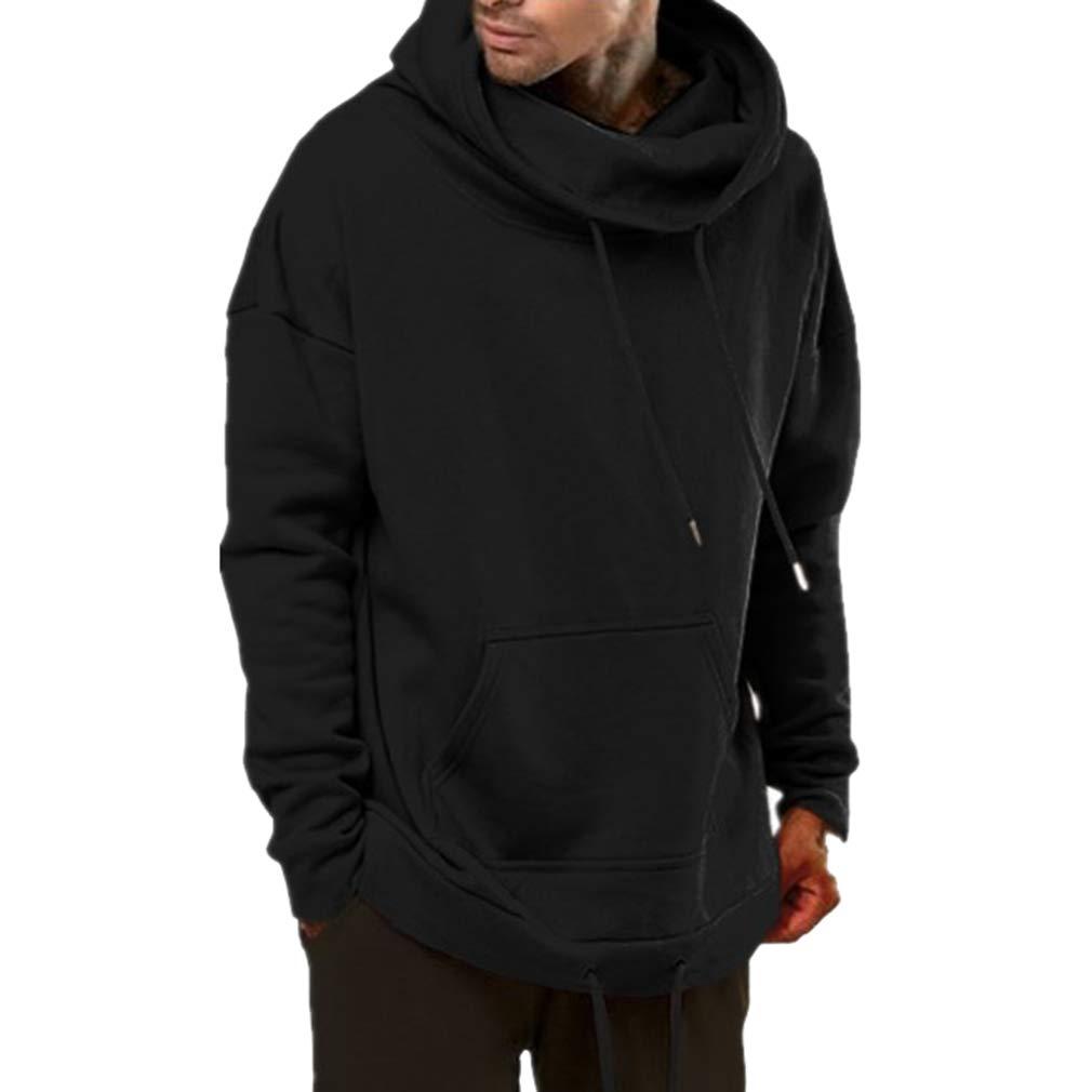 Sudadera para Hombre Manga Larga Otoño Invierno Casual Hoody Sweatshirt Suelto Fleece Canguro Bolsillo Sweat Hood Blusa con Cordón