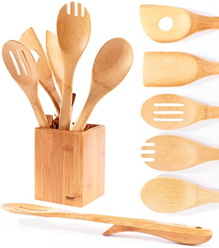 Organic Bamboo Cooking Utensils Set, Unique Elevation Feature, 6 Piece Set, Wooden Spoons Spatula, Kitchen Utensil Set, High Heat Resistant, Wood Serving Spoon, Eco-Friendly & Biodegradable Gift Idea by Neet (Image #7)