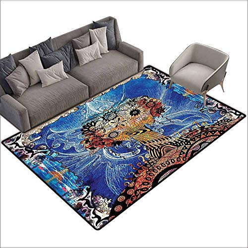 Living Room Bedroom Carpets Trippy,Indie Style Sketchy Retro Tree with Flower Forms on Paisley Backdrop Abstract Image,Blue Brown 80