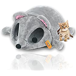 The Best Cat Bed For Your Cat, Mouse Shaped Cat House Bed with Removable Cushion & Waterproof Bottom, Two Dangling Pom Cat Toys, Safe and Warm Pet Bed, Super Soft Non Toxic Material.