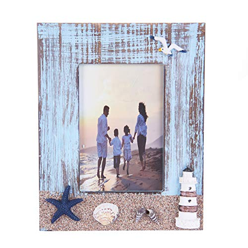 Zhenzan Frames 4x6 Inches Nautical Theme Family Picture Photo Frame with Lighthouse,Starfish and Sea Shell Decoration (Lighthouse, 4X6) (Photo Starfish)