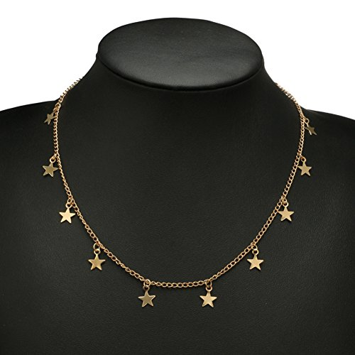 Wintefei Women Little Star Chain Pendant Necklace Solid Color Party Jewelry Gift - Golden