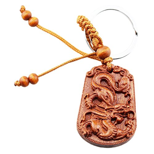 FOY-MALL Rosewood Carved Chinese Zodiac Animal Keychain Dragon M1364