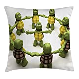Lunarable Reptile Throw Pillow Cushion Cover, Ninja Turtles Dancing Tortoise Team Relax Fun Happiness Childhood Kids Theme, Decorative Square Accent Pillow Case, 28 X 28 Inches, Green White Brown