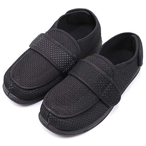 Men's Extra Wide Width Diabetic Recovery Slippers, Adjustable Closures Swollen Feet Arthritis Edema Orthopedic Footwear, Indoor/Outdoor Walking Shoes Black ()