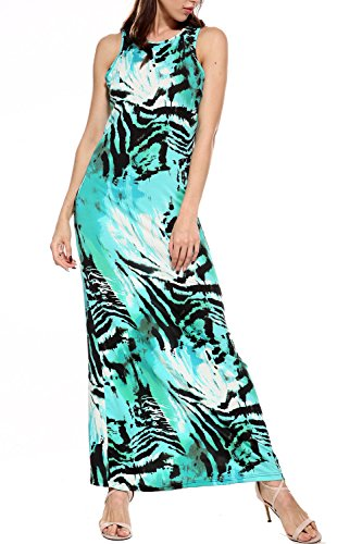 Women Summer Boho Floral Animal Print Long Casual Party Plus Size Maxi Dress (2XL) - Animal Print Tank Dress