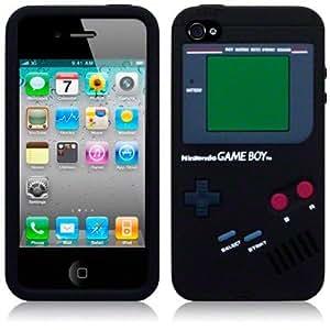Funda Silicona Negra iPhone 4 4S Negro tipo Game Boy Gameboy retro Nintendo