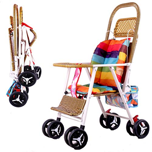 Mjd Stroller Summer Rattan Stroller Baby Bamboo Rattan Stroller Light can Sit Reclining Foldable Rattan Chair Cart Rattan Car Baby Trolley (Color : Red)]()
