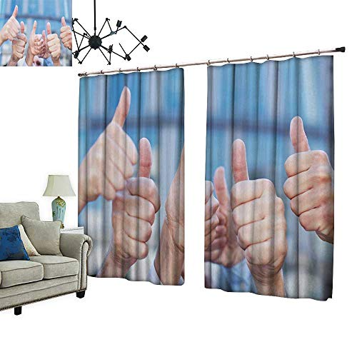 PRUNUS Curtain with Hook Cheer peoplae h m y Thumbs Thumbs up Blackout Draperies for Bedroom,W96.5 xL84.3