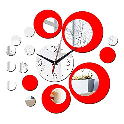 Jewh Hot Mirror Wall Sticker 3D Wall Stickers - Home Decor Europe Acrylic Clock Poster Butterfly