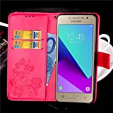 Samsung Galaxy J2 Prime Case Cover EMAXELER Stylish Wallet Kickstand Flip Cover Embossing Credit Cards Slot Cash Pockets PU Leather Wallet Cover for Samsung J2 Prime Clover Red