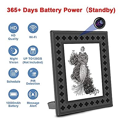 Security Camera Photo Frame Fuvision WiFi Surveillance Camera Picture Frame with PIR Motion, Night Vision, Live View Mode, 365 Days Battery Life and Message Alerts to Smartphone(Video Only)