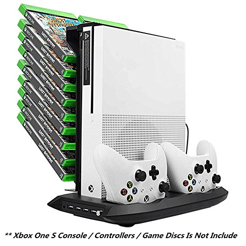 Xbox-One-S-Vertical-Stand-Cooling-Fan-Controller-Charging-Station-with-Game-Storage-Dualshock-Charger