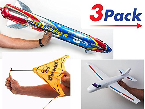 3 Airplane Glider, Hang Glider, Giant Rocket Bundle Fly Plane by JA-RU | Combo A14 by JA-RU