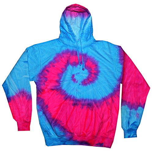 Colortone Tie Dye Hoodie Sweatshirts Pullover Multicolored Adult Sizes (2X, Blue Pink Swirl)